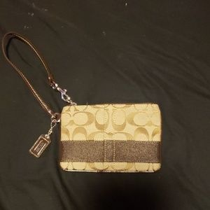 Small authentic Brown Coach Wristlet
